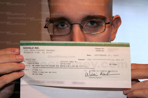 ShoeMoney mostra l'assegno AdSense da 132.994,97 dollari