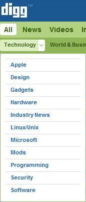 Sottocategorie di Digg
