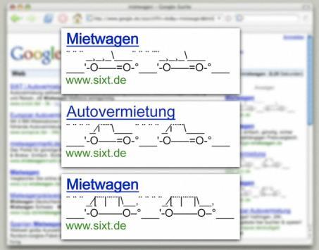 AdWords ASCII Art: Mietwagen (www.sixt.de)