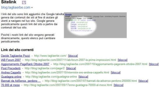 I sitelink del TagliaBlog