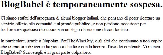 BlogBabel è temporaneamente sospesa.