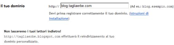 La schermata di Blogger all'interno della quale si imposta il redirect