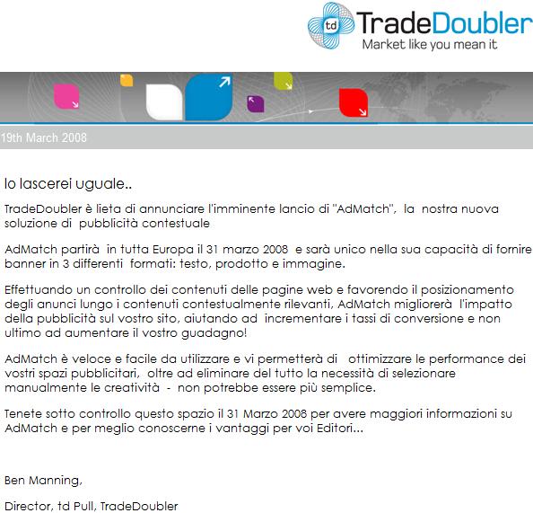 L'email con la quale TradeDoubler annuncia AdMatch