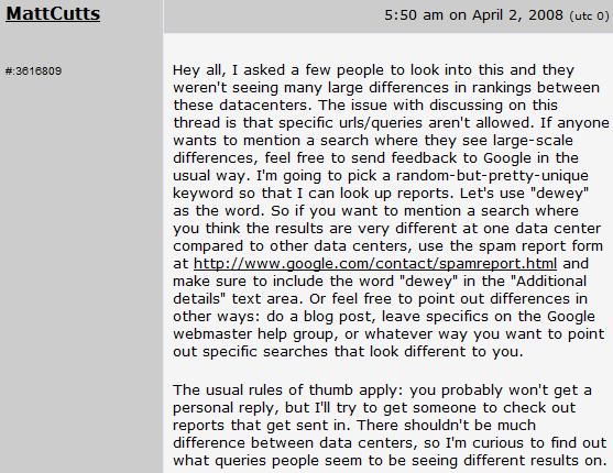 """Il post di Matt Cutts che ha generato il termine di """"Dewey update"""""""