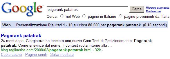 Il TagliaBlog primo nel PageRank Patatrak?