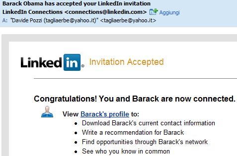 L'email con la quale Barack Obama mi ha aggiunto alla sua rete su LinkedIn