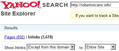 RobertoScano.info analizzato con Yahoo! Site Explorer