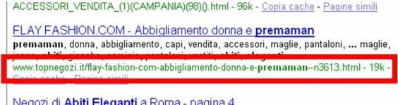 URL presentato da Google