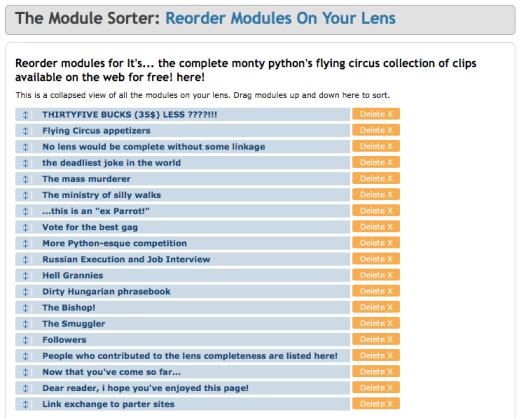 """Il """"Module Sorter"""" di Squidoo"""