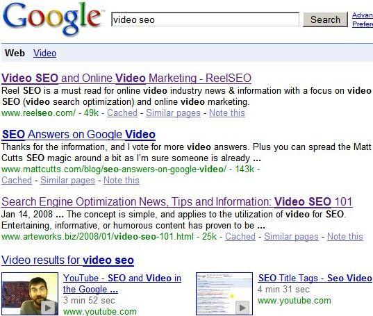 I video nelle SERP di Google