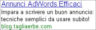 Esempio di un annuncio AdWords