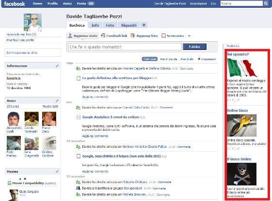 Il posizionamento dei banner su Facebook
