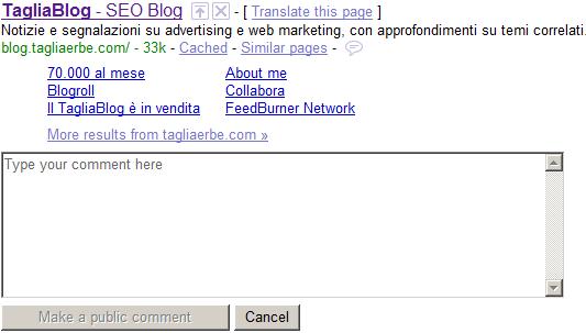 Il TagliaBlog in Google SearchWiki