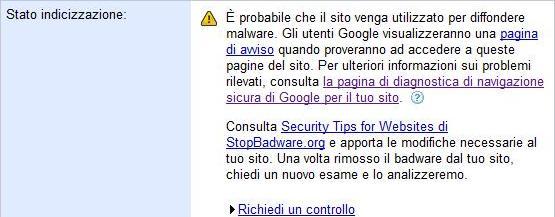 Stato indicizzazione (degli Strumenti per i Webmaster di Google)