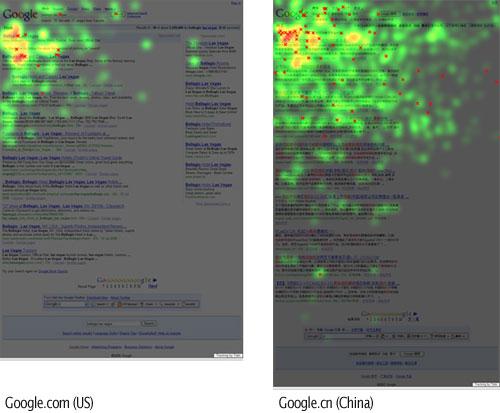 La heatmap di Google.com a confronto con quella di Google.cn