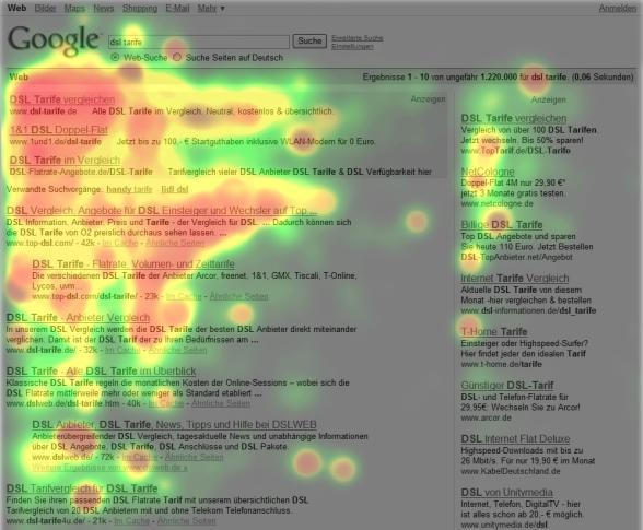 La heatmap di una SERP di Google.de