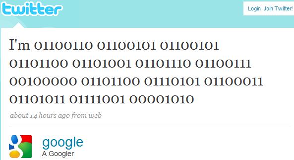Il primo twit di Google