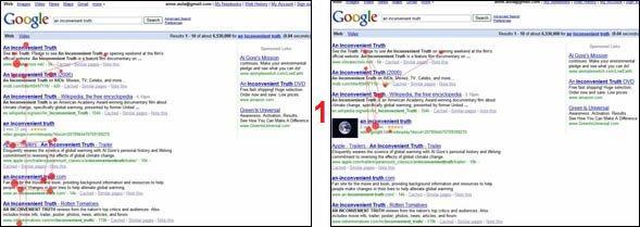 SERP di Google senza e con thumbnail: se è bella, l'occhio è attirato