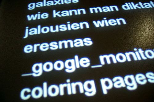 Un monitor dove scorrono le query di Google in tempo reale