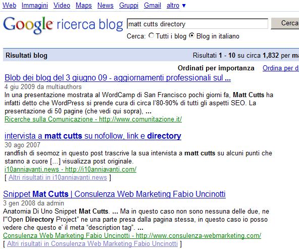 ...nemmeno nei soli Blog in italiano