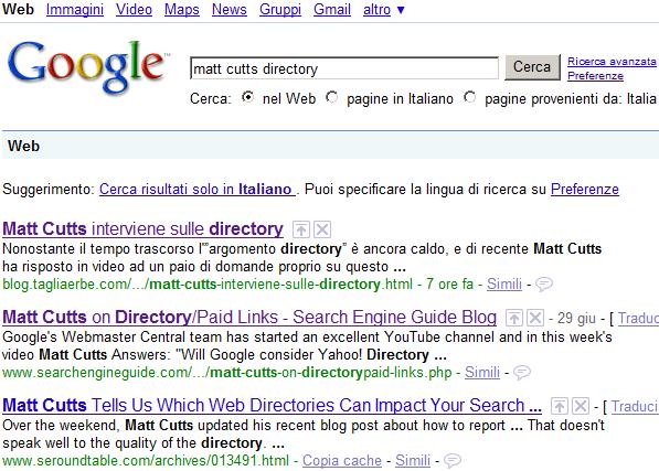 Post del TagliaBlog presente in Web Search