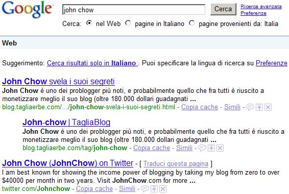 Il TagliaBlog al primo posto in Google cercando John Chow