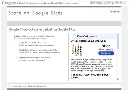 Esempio di Google Checkout store gadget Small (320x300)