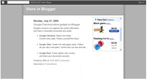 Esempio di Google Checkout store gadget Tiny (215x250)