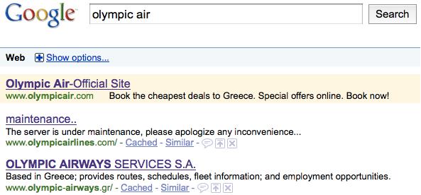 Ecco cosa restituisce la ricerca di olympic air in Google...