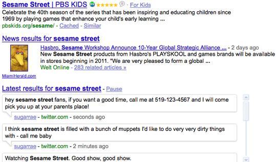 Esempio di Real-Time Search... o, per meglio dire, Real-Time Spam