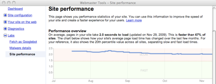 Le Site Performance nei Webmaster Tools