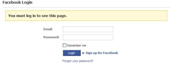 La pagina di login di Facebook
