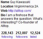 Alltop linkato dal profilo Twitter di Guy Kawasaki
