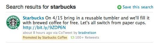 Un esempio di tweet sponsorizzato