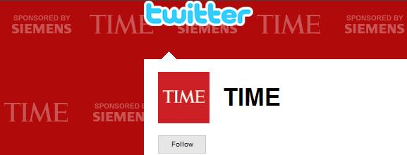 Lo sfondo sponsorizzato del TIME su Twitter