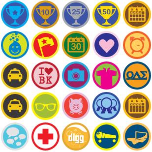 Alcune badge collezionabili con Foursquare