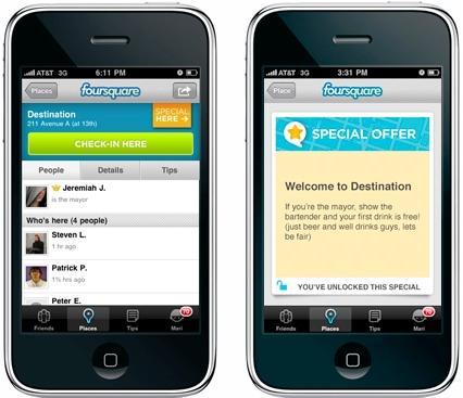 Una offerta speciale in Foursquare