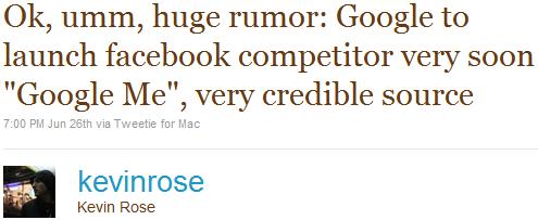 Kevin Rose cinguetta il rumor su Google Me