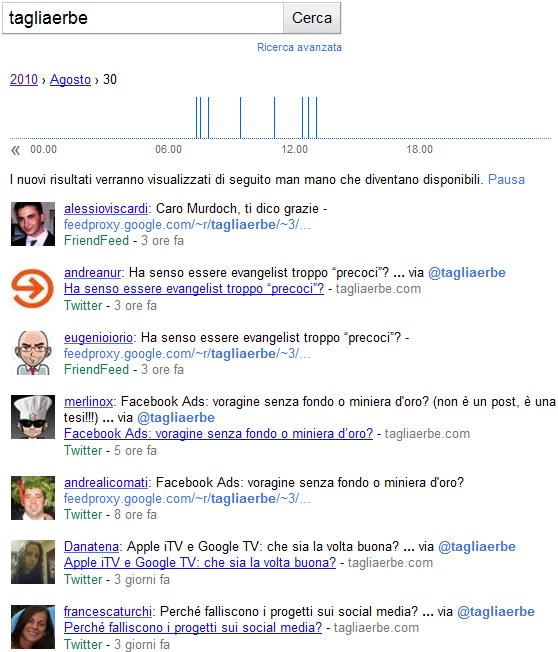La SERP ottenuta cercando tagliaerbe in Google Realtime Search