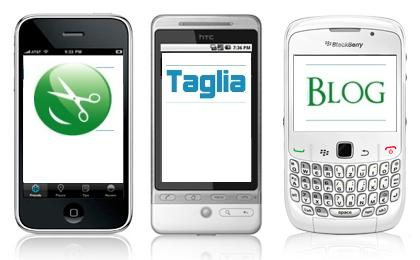 Il TagliaBlog su iPhone, Android e BlackBerry