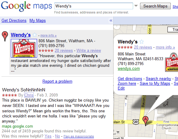 Una simpatica recensione inserita nelle mappe di Google :-)