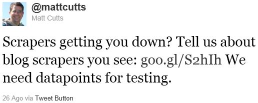 Il tweet di Matt Cutts contro i Blog Scrapers