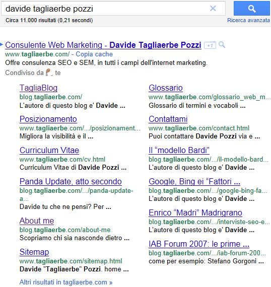 nuovi Sitelink di Google, per la ricerca davide tagliaerbe pozzi