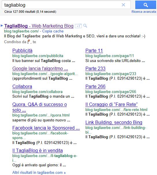 I nuovi Sitelink di Google, per la ricerca tagliablog