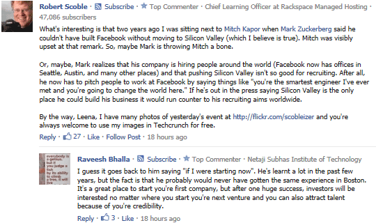 Un commento di Robert Scoble su TechCrunch tramite Facebook Comments