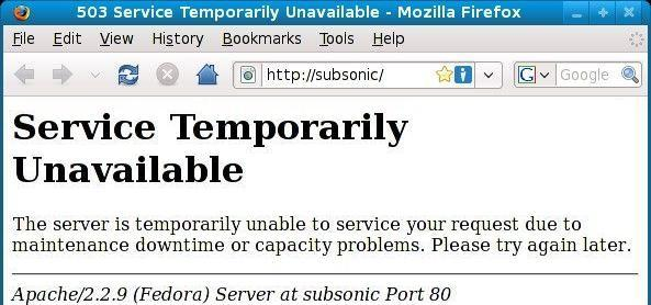 503 Service Temporarily Unavailable
