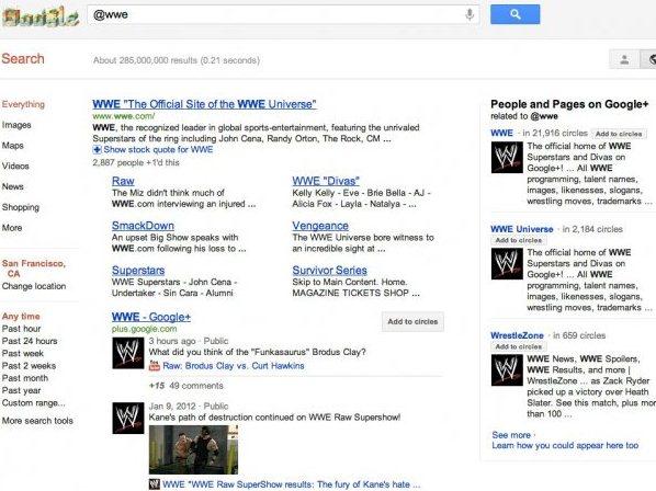 L'assenza dell'account di Twitter della WWE dalla SERP di Google