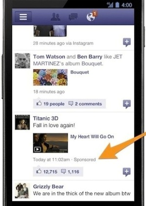 Le Sponsored Stories via mobile di Facebook