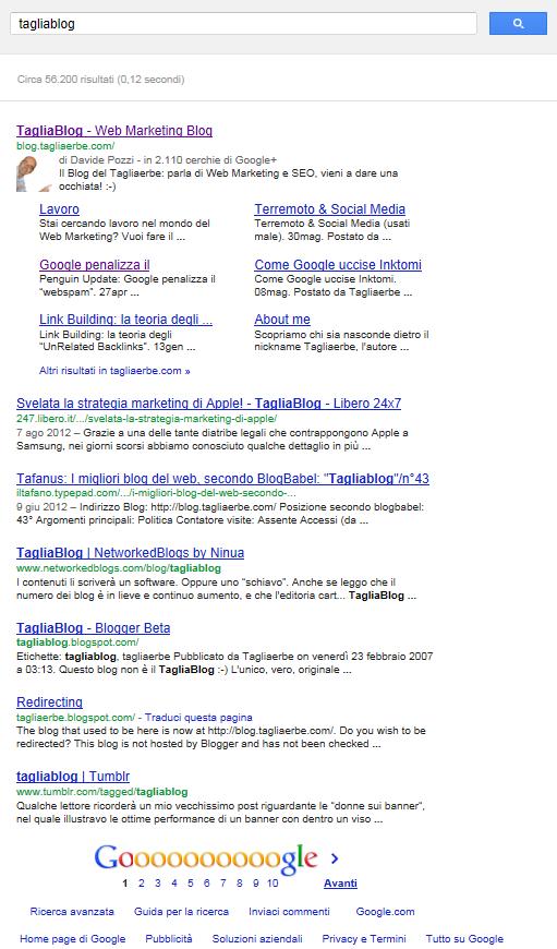 Una SERP di Google con 7 risultati