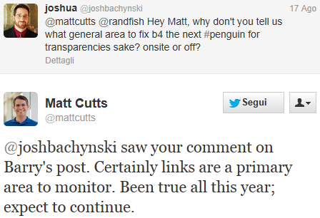 Matt Cutts risponde via Twitter sul Google Penguin